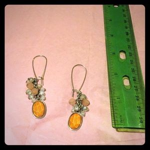 Orange peach colored dangle earrings